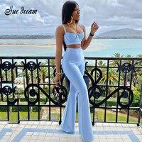 2021 Летний Новый женский модный сексуальный бандажный комплект из 2 предметов, облегающий короткий топ без рукавов и расклешенные брюки с вы...