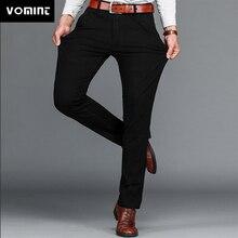 Vomatiz marca dos homens calças de negócios casuais clássicos estiramento regular calça reta preto azul cáqui 4 cores mais tamanho 44 46