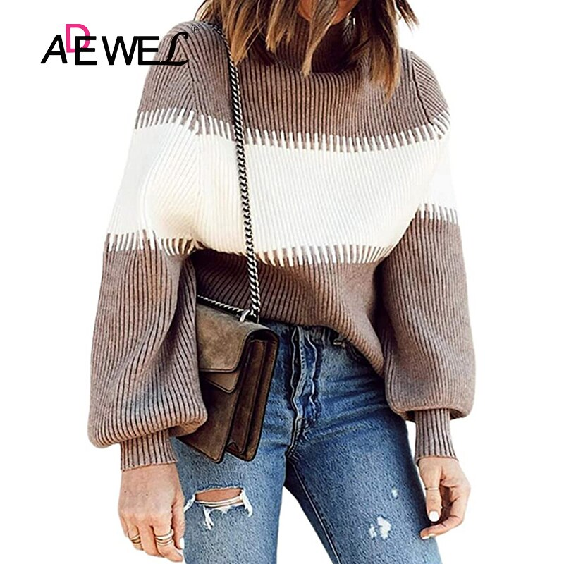 ADEWEL Autumn And Winter Christmas Stripe Color Matching Sweter Damski Swetry Damskie Sueter Mujer Invierno 2020 Long Sleeve XL
