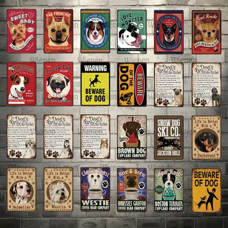 Carteles de Metal Portly Pug para mascotas, Pub, perros, la vida del Metal es mejor tener cuidado con el cartel del perro, decoración del hogar, Bar, pinturas artísticas de pared 20x30cm