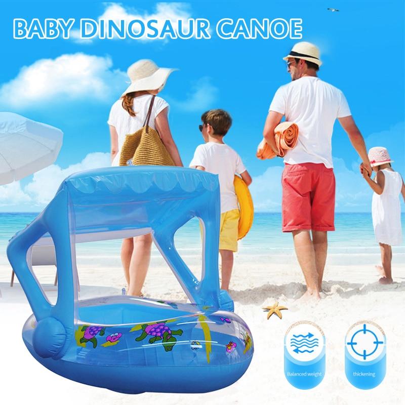 2020 динозавр каноэ детская лодка детское надувное кольцо для плавания плавательный бассейн водное кольцо для плавания игрушка с навесом