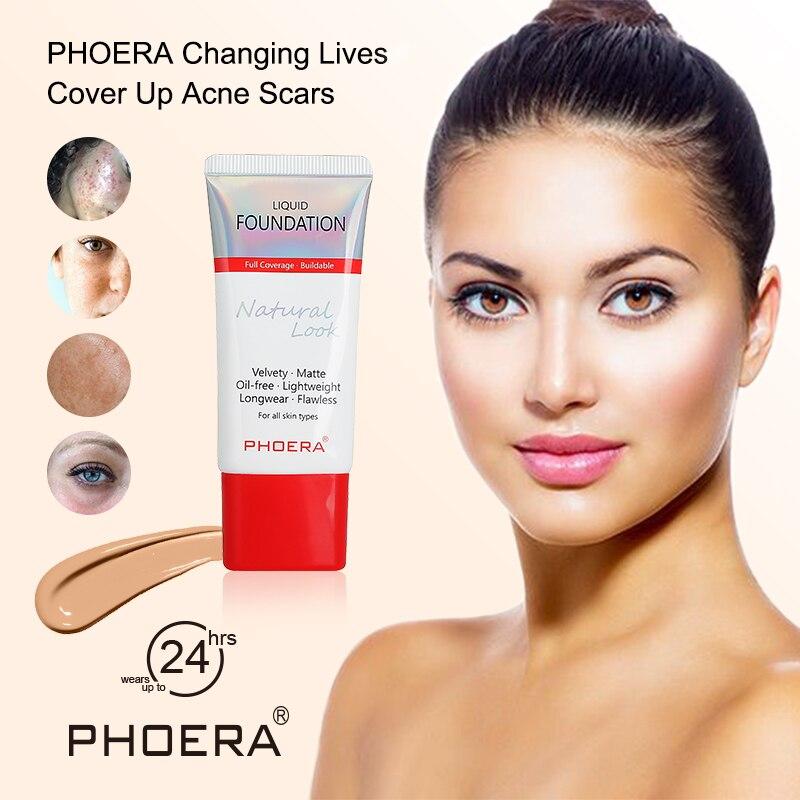 PHOERA-Base de larga duración, 24 horas, blanqueadora, hidratante, Control de aceite, líquido, Base correctora, crema Base TSLM1