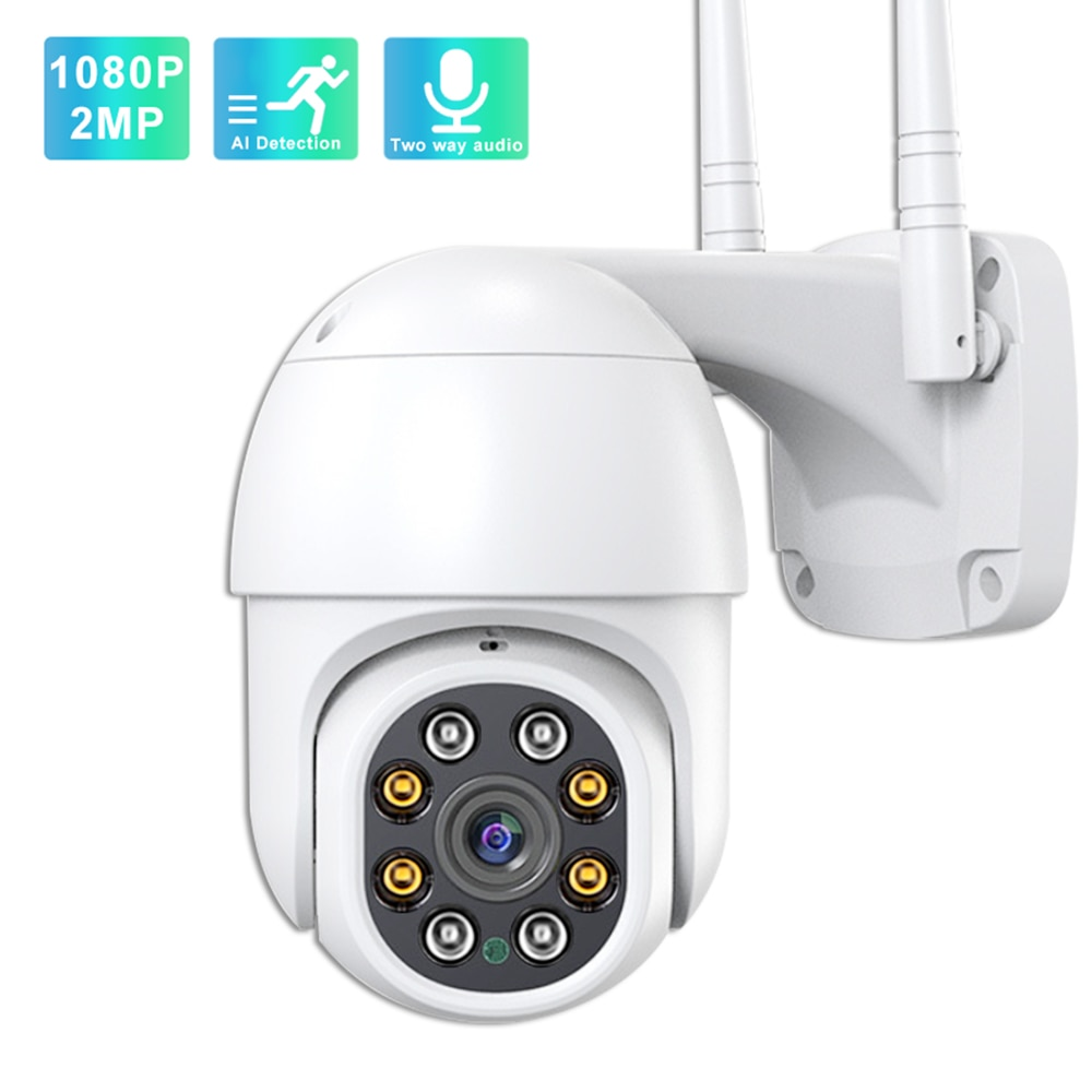 Outdoor IP Camera 2MP Wireless WiFi PTZ Camera Two Way Audio P2P Speed Dome IR Night Vision Home Security Surveillance Camera hd camera 3 antenna wifi ir cut night vision two way audio p2p video surveillance security camera wireless ip camera