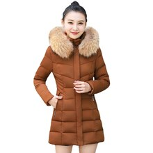Women Winter Long Parkas Big Fur Collar Cotton Padded Thick Parka Long Female Jacket Coat Hooded Sli