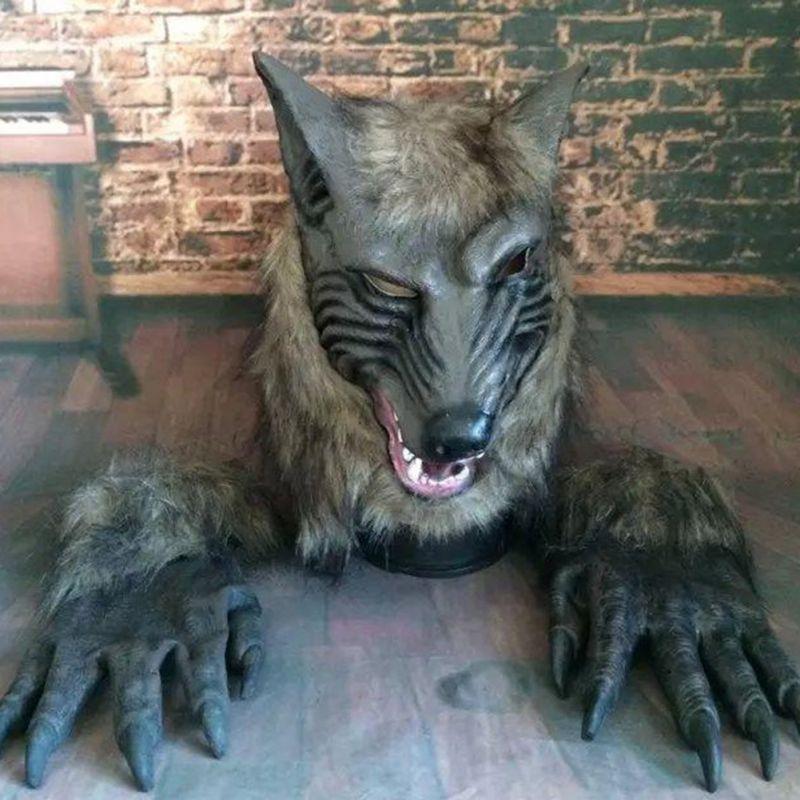 Máscara de cabeza de lobo de miedo de Halloween con pelo disfraz de fiesta juego de rol para niños adultos máscara y guantes de lobo de Animal de terror