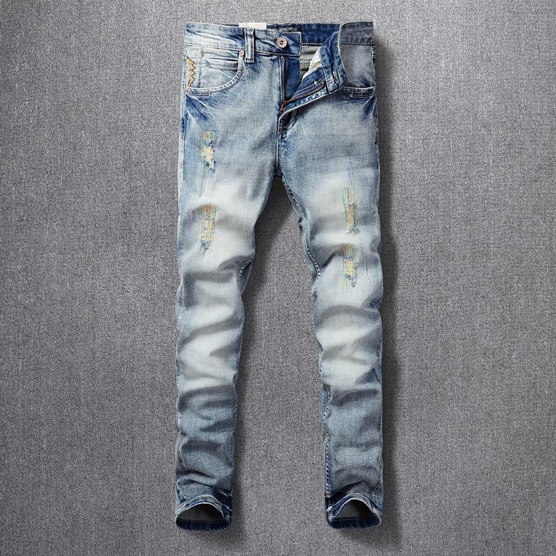 Корейский Стиль модные мужские джинсы для женщин в стиле ретро светильник синие джинсы с эластичной резинкой на Slim Fit рваные джинсы с вышивк...