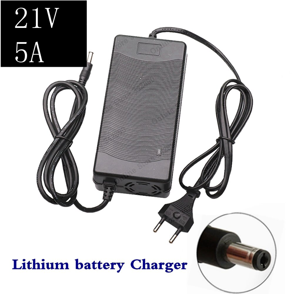 Cargador de batería de litio 21V 5A 5 Series 100-240V 21V5A cargador de batería para batería de litio con luz LED que muestra el estado de carga