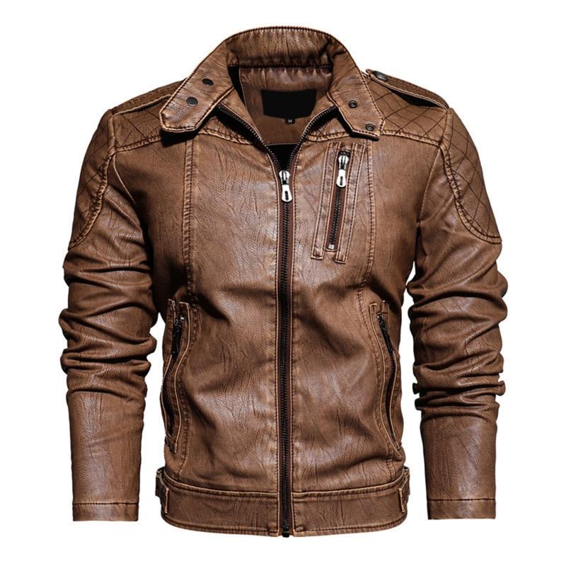 الرجال 2021 الخريف العلامة التجارية الجديدة محرك عادي المتعثرة سترة جلدية معطف الرجال الشتاء Vintage أبلى فو سترات من الجلد الرجال