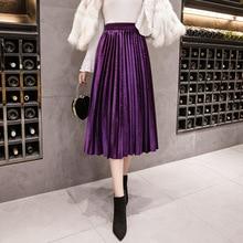 Autumn Vintage Suede Velvet Pleated Skirts Women 2019 Solid Elegant High Waist Long Skirt Slim Large Swing A-line faldas mujer
