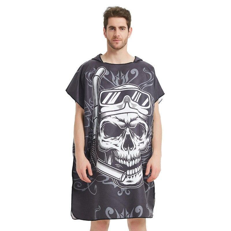 LISM negro Graffiti toalla mujer bata de baño de hombre/cambiante Albornoz Toalla de baño al aire libre con capucha Toalla de playa con Poncho Albornoz traje de baño