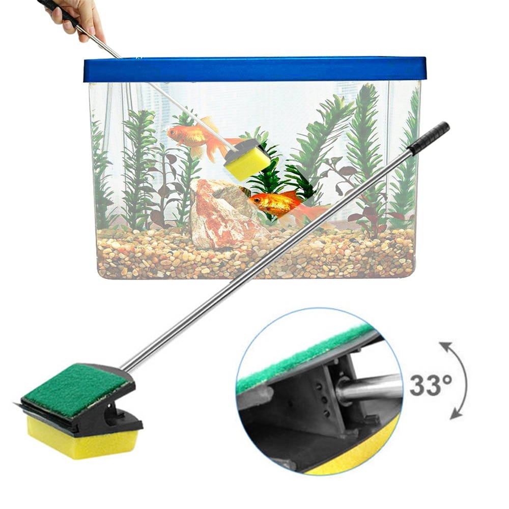 New Aquarium Fish Tank Cleaning Tool  Double Face Sponge Cleaning Brush Long Steel Handle Aquarium Glass Brush 1pcs