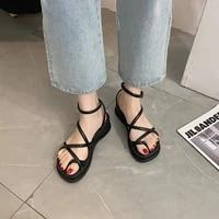 2021 women sandals high heeled shoes summer fashion sandal buckle design wedge casual platform pumps ladies party flat sandals