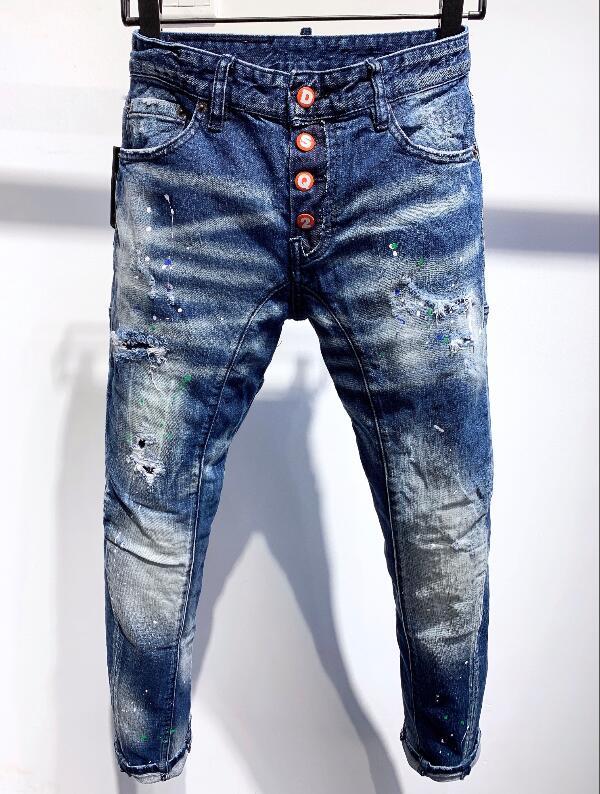 Мужские модные трендовые заплатки Dsquaren2, потертые облегающие джинсы с аппликацией и дырками, мужские джинсы DSQ2 A337