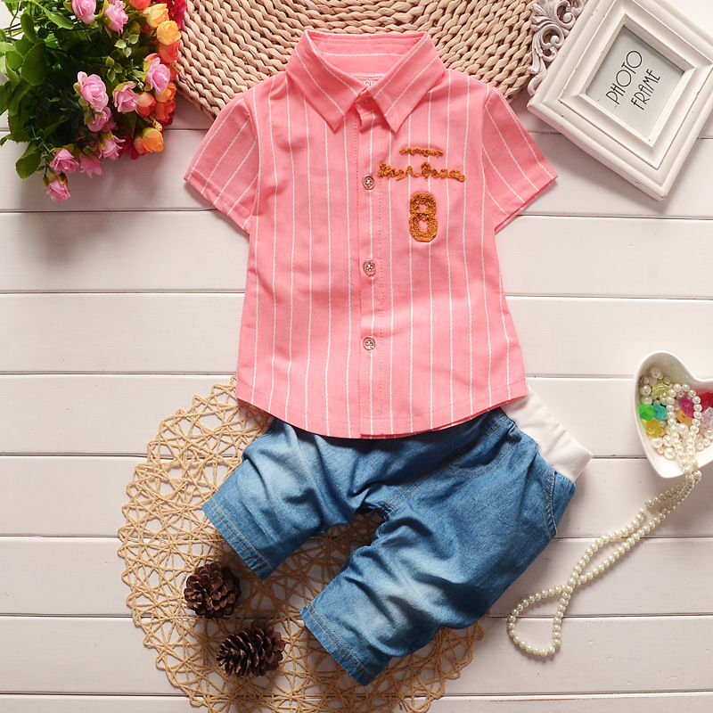 Summer New Children's Clothing Casual Shirt + Jeans Fashion Embroidery Kids Clothing Sets Toddler Boys Children Clothes 1-4 Y
