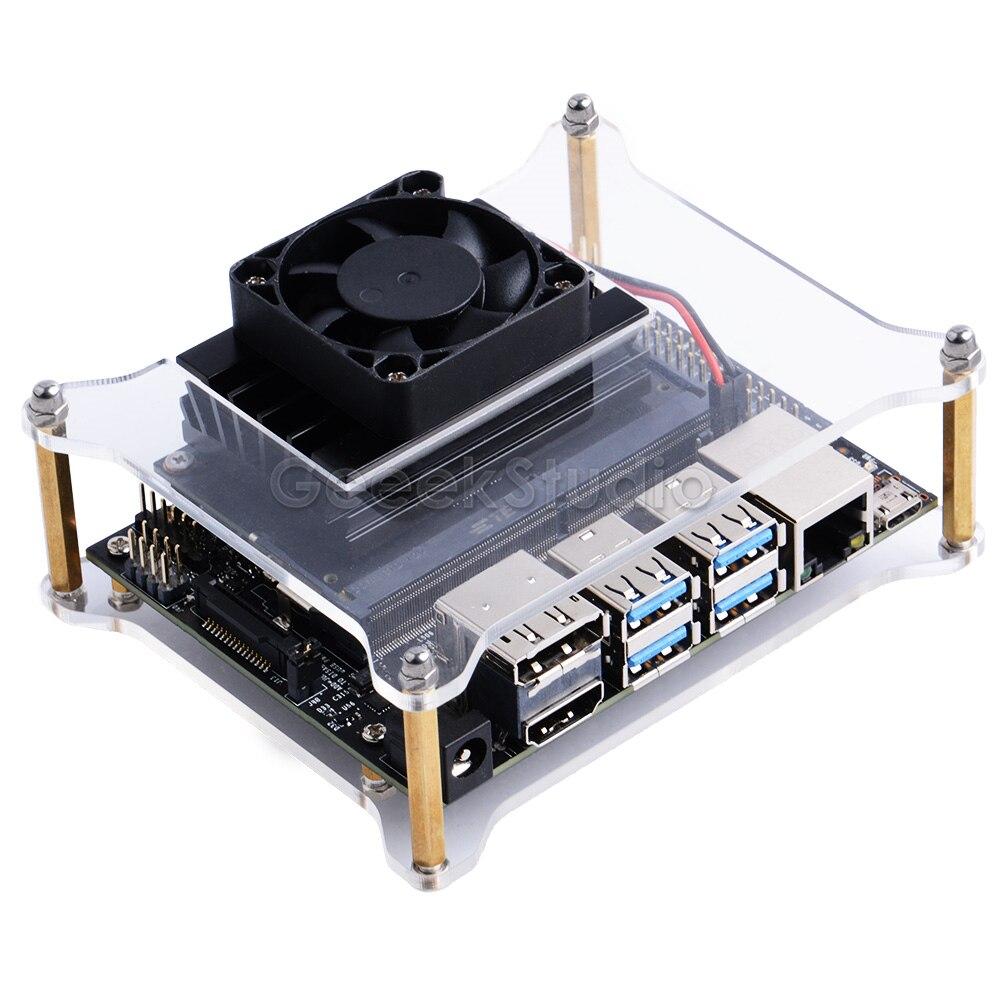 Funda carcasa acrílica transparente tipo A/B con tornillos de ventilador de refrigeración para NVIDIA Jetson Nano B01 versión A02