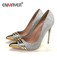 enmayer basic high heels sequined cloth pointed toe party slip on luxury bling 2020 women shoes wedding shoes pumps size 34 43