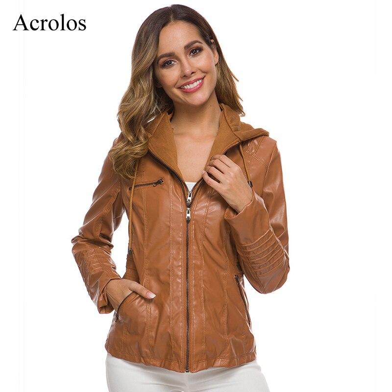 Chaqueta de piel sintética para mujer, abrigo ajustado de manga larga con capucha y cremallera, ropa de calle para moto 2020, chaquetas de mujer de talla grande 7xl