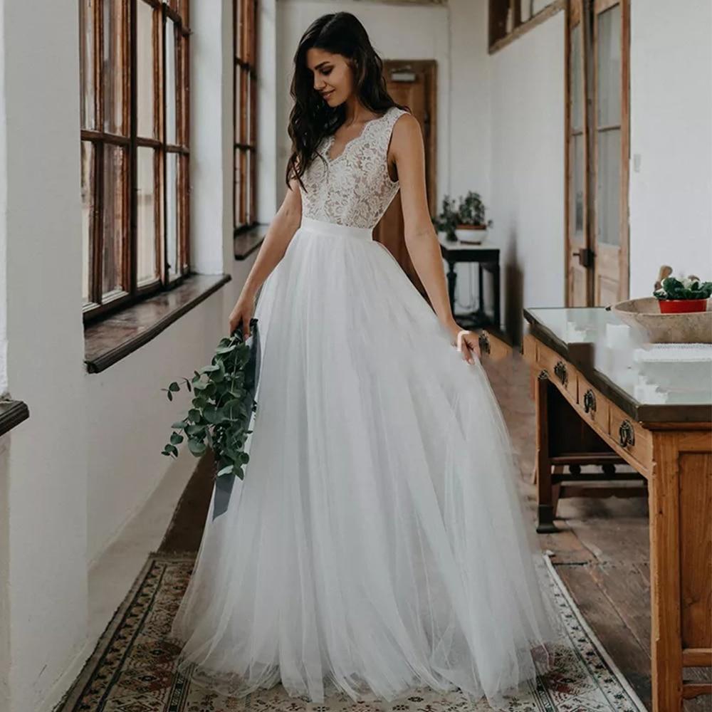 Vestidos de Casamento Pescoço sem Mangas sem Costas Vestidos de Noiva Feito sob Encomenda Boêmio Linha Rendas Apliques Varrer Trem Praia 2022 v Uma