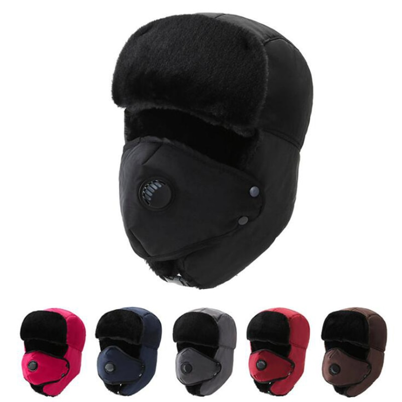 1pc Thick Bomber Hat Unisex Breathable Detachable Mask Hats Women Men Cold Winter Warm Headwear Ski
