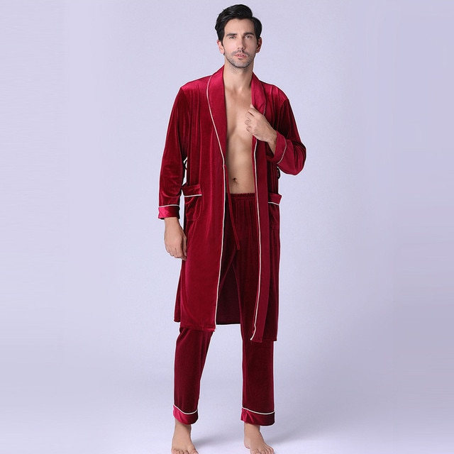 Men's or Women's New Long-sleeved Foreign Trade Home Service Gold Velvet Pajamas Suit Man /woman 6