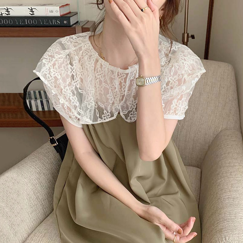 Korean Chic Dress Soft Baby Collar Lace Hook Flower Party Dress Bottomed Shirt Loose Drawstring Susp