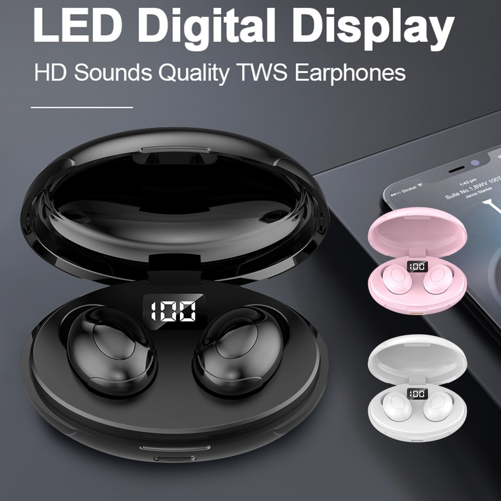 TWS-T5 Bluetooth Drahtlose Kopfhörer HIFI Ohrhörer LED High-definition-Display Bass Stereo Wasserdichte Ohrhörer mit Lade Box