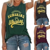 summer casual loose tank tops womens vest sunshine and whiskey letter printed round neck sleeveless t shirts