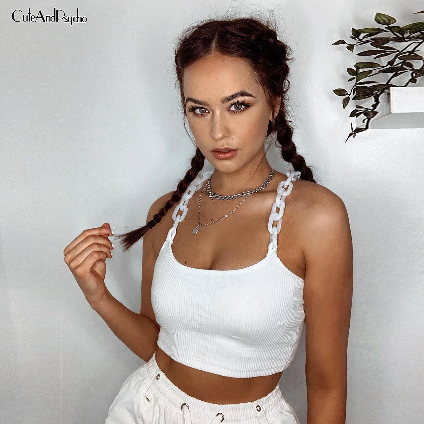 Blanco Skinny milkmaid Top mujer diseño con cadena camisola ropa de calle sexi Causal Chaleco Corto Camis verano moda Cuteandpsycho