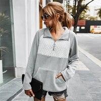 women 2021 autumn pullover casual turn down collar zipper top fleece sweatshirt fashion loose color matching sweatshirt