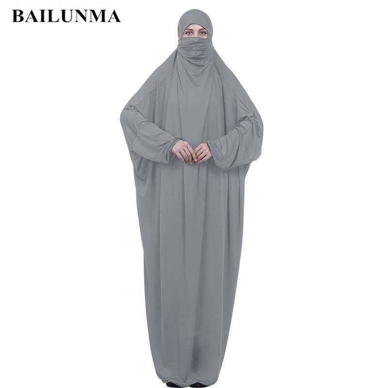 Мусульманский женский хиджаб абайя полное покрытие платье Тюрбан Хиджаб femme musulman Молитвенное платье вуаль свободная Бурка длинный хиджаб Серый M L XL XXL
