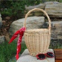 Panier de saule fait main cueillette Shopping sacs de rotin à la main de mode Simple pour les femmes