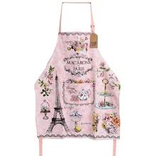 Pink Sweet LES MACARONS DE PARIS Adult Kitchen Apron Woman Flowers Print Avental Tablier Cuisine Pinafore Apron