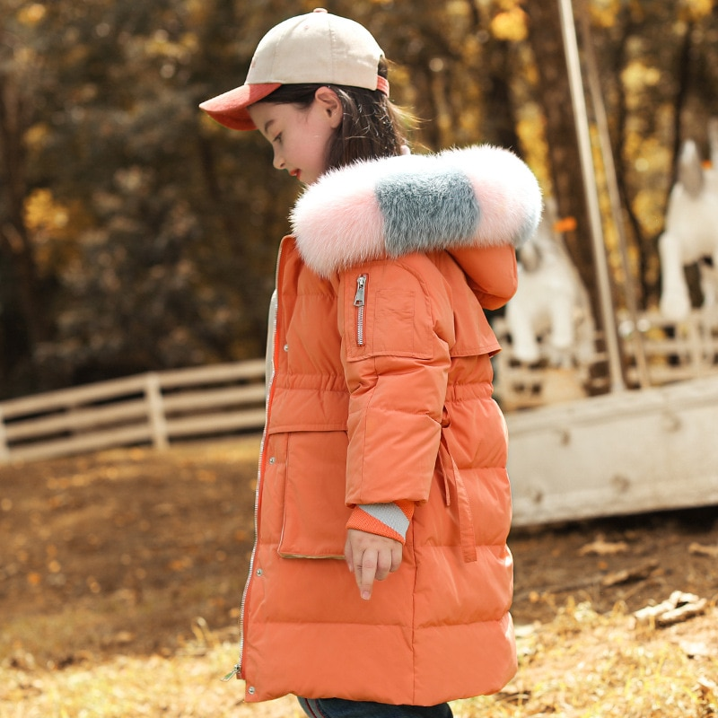 Russia Winter Children's Down Jacket For Girls Clothes Long Parka Kids Real Fur Hooded Coat Girls Sn