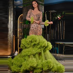 Army Green Tulle Tiered Ruffles Mermaid Evening Dresses Luxury Full Beads Crystais Prom Gowns Sexy See Thru V Neck Pageant Gown