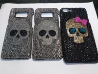 cool metal skull skeleton punk bling case cover for samsung galaxy s109 s20 s21 plus note 10 lite 10 20 ultra 9 crystal fundas