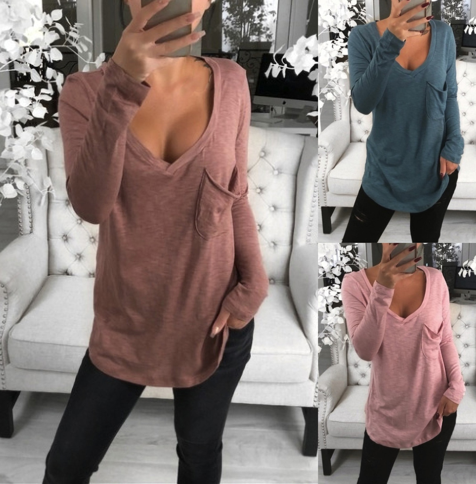 Fashion Solid Basic Blouse Shirt Loose Sexy V-Neck Tops Casual Autumn Winter Top Ladies Female Women Long Sleeve Blusas Pullover