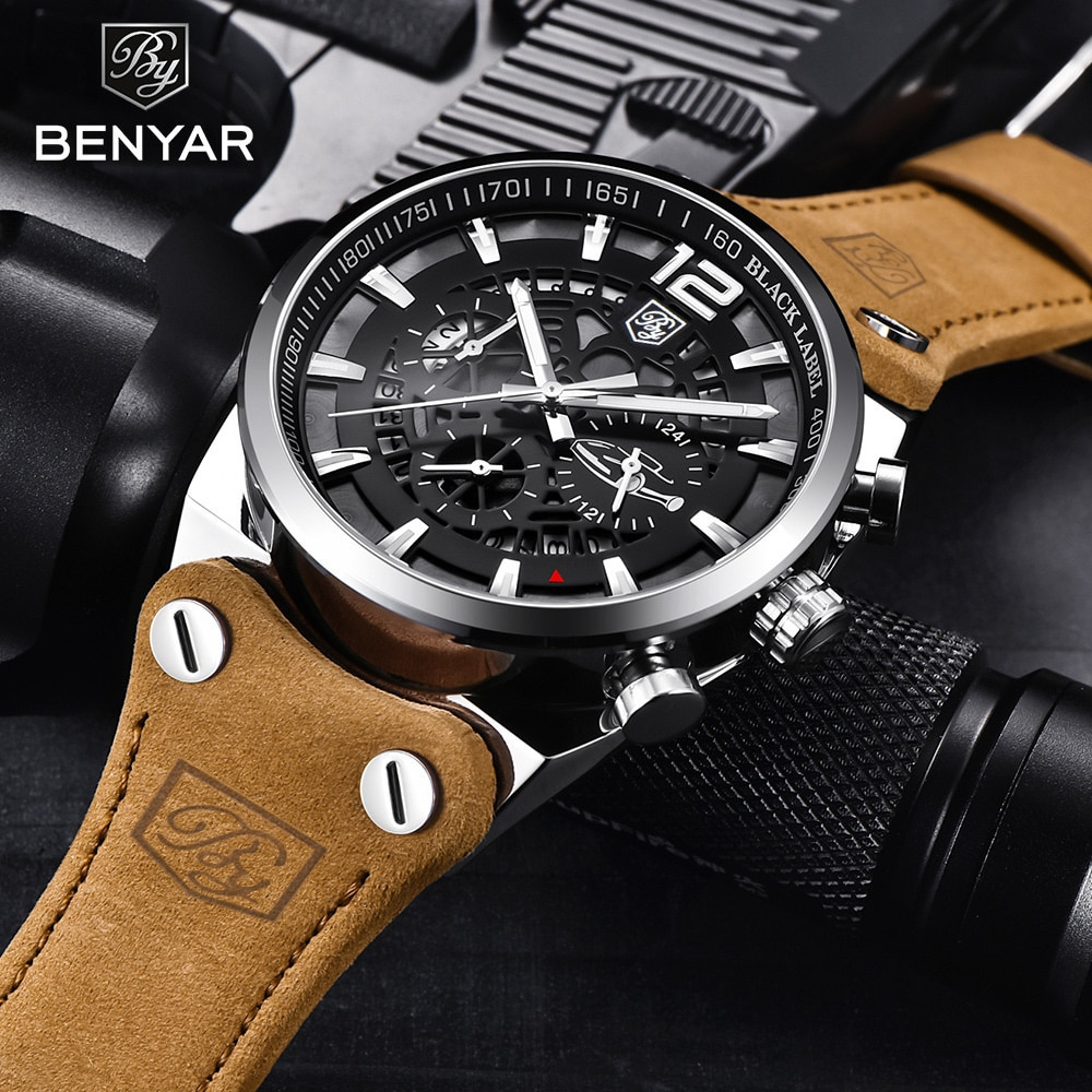 Watch Men's Fashion Multi Function Sports Leather Quartz Watch 5112 New enlarge