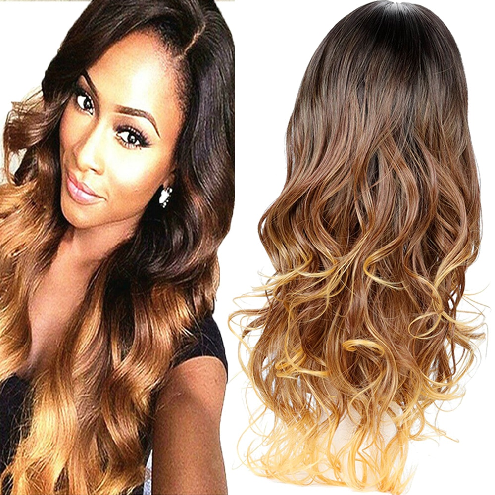 ombre romance onda do corpo peruca de cabelo gluless resistente ao calor peruca sintetica
