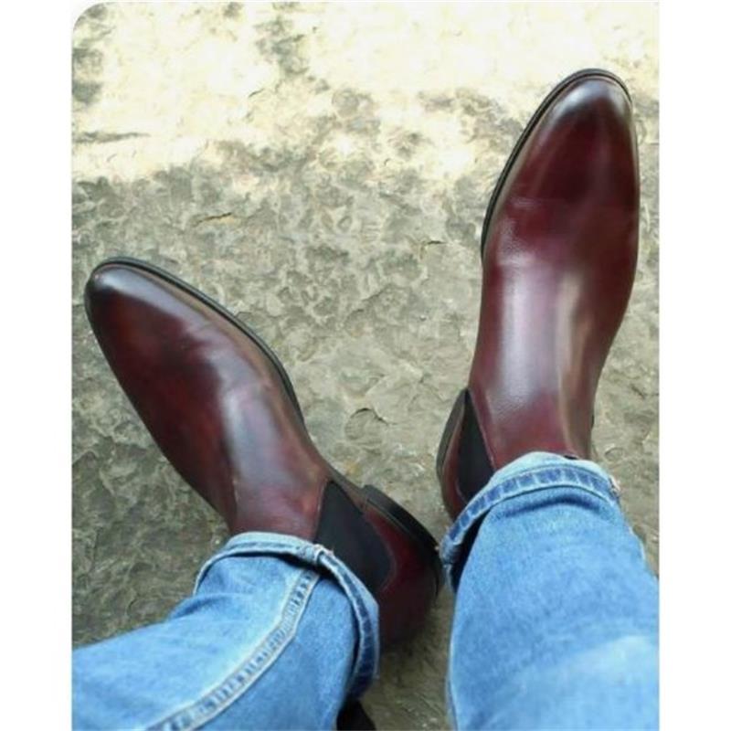 الرجال اليدوية بولي Brown البني عالية الجودة تشيلسي الأحذية الرجعية العصرية موضة مريحة كل مباراة أحذية بوت قصيرة عادية KA093