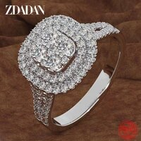 zdadan 925 sterling silver square zircon ring for women temperament jewelry accessories wholesale gift
