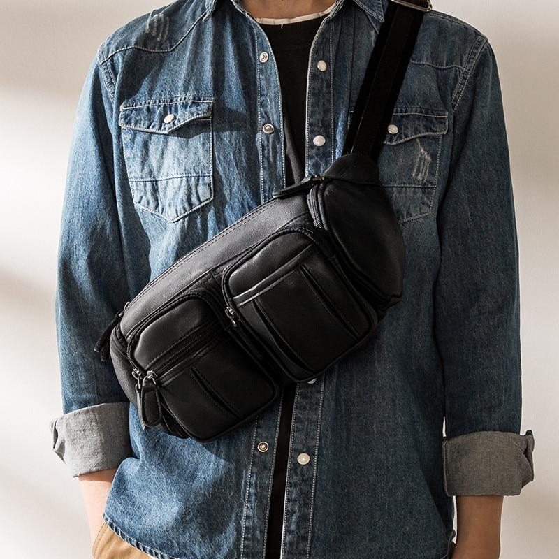 Простая повседневная сумка-мессенджер desig для мужчин, однослойная черная светильник Личная легкая нагрудная сумочка из натуральной воловь...