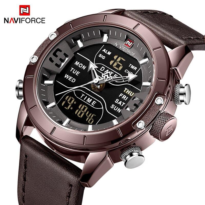 Reloj de NAVIFORCE de lujo para hombre, reloj de pulsera de cuero deportivo militar, reloj de cuarzo Digital Led impermeable para hombre, reloj Masculino