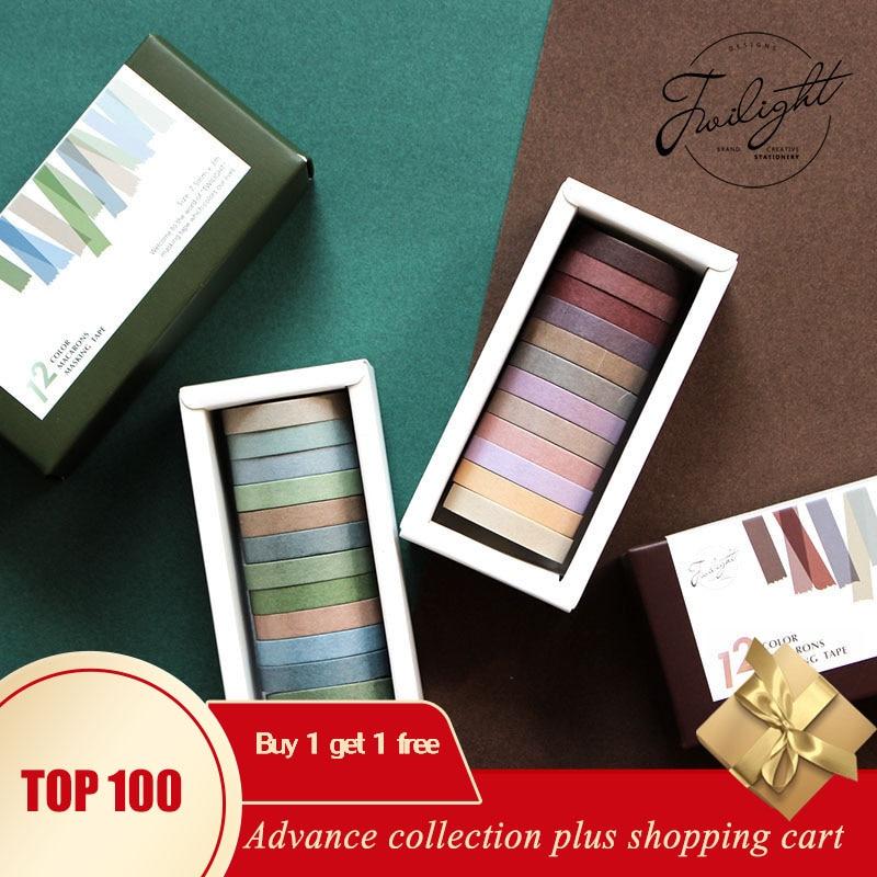 12 Uds cinta de washi Kit de arcoíris cinta adesiva decorativa kpop color púrpura escolar papelería scrapbooking papeleria bonita