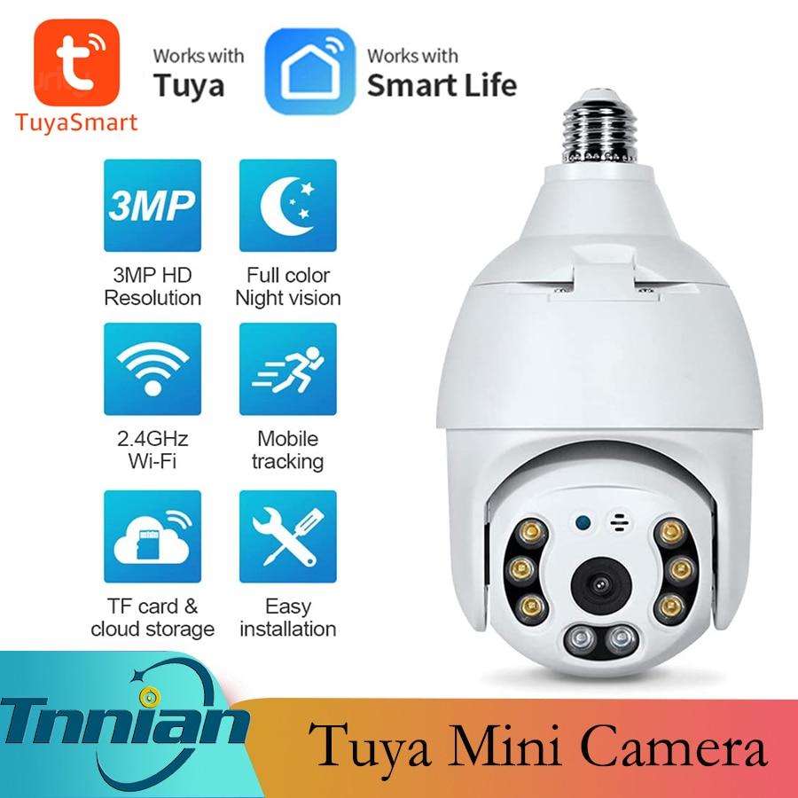 3MP Tuya WIFI E27 PTZ Lamp IP Camera Night Vision PTZ Security Bulb Camera CCTV Video Surveillance w