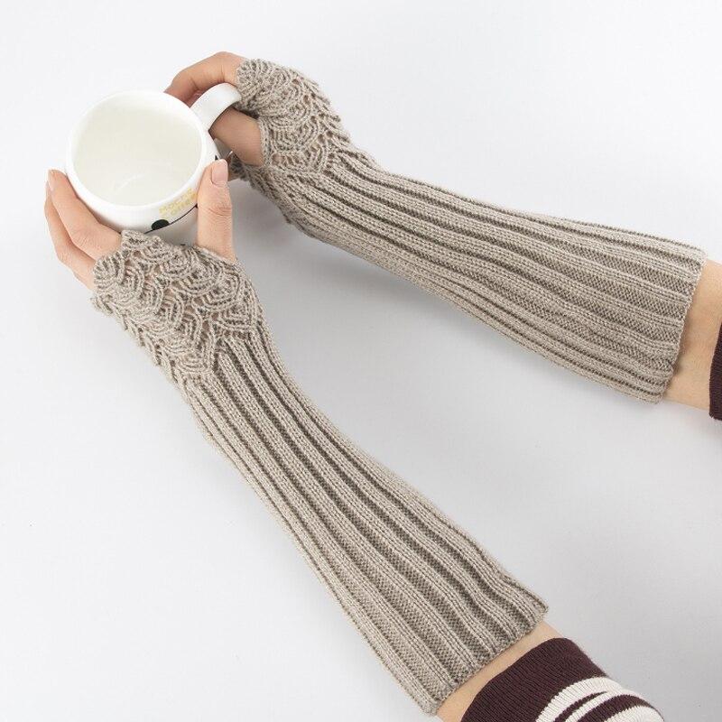 Guantes informales de moda Unisex semilargos tejidos, guantes de invierno sin dedos, guantes suaves para mujer, guantes cálidos sin dedos