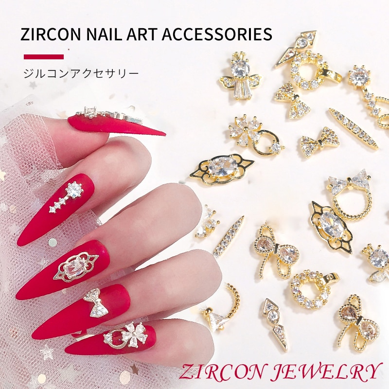 1 Piece Attire Nail Art Alloy  3D  Zircon Crystal Gold-plated Jewelry Fashion Glitter DIY Nail Art M