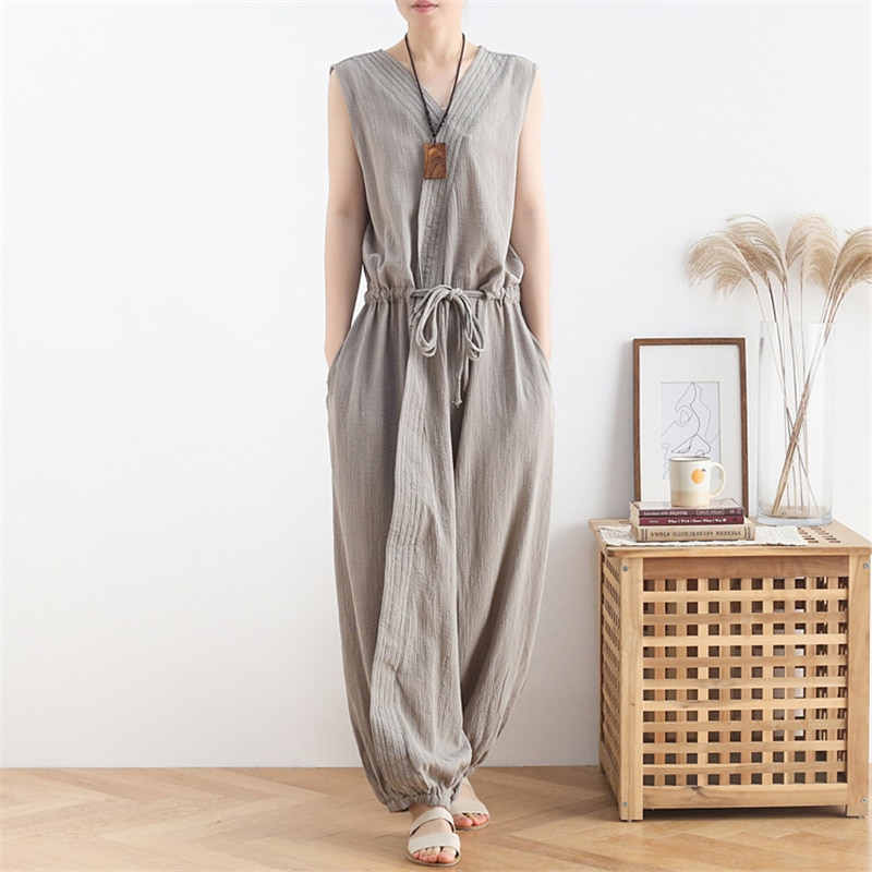 Johnature Women Cotton Linen Jumpsuits Vintage Loose Solid Color 2021 New Summer High Quality Sleeveless Women Casual Jumpsuits