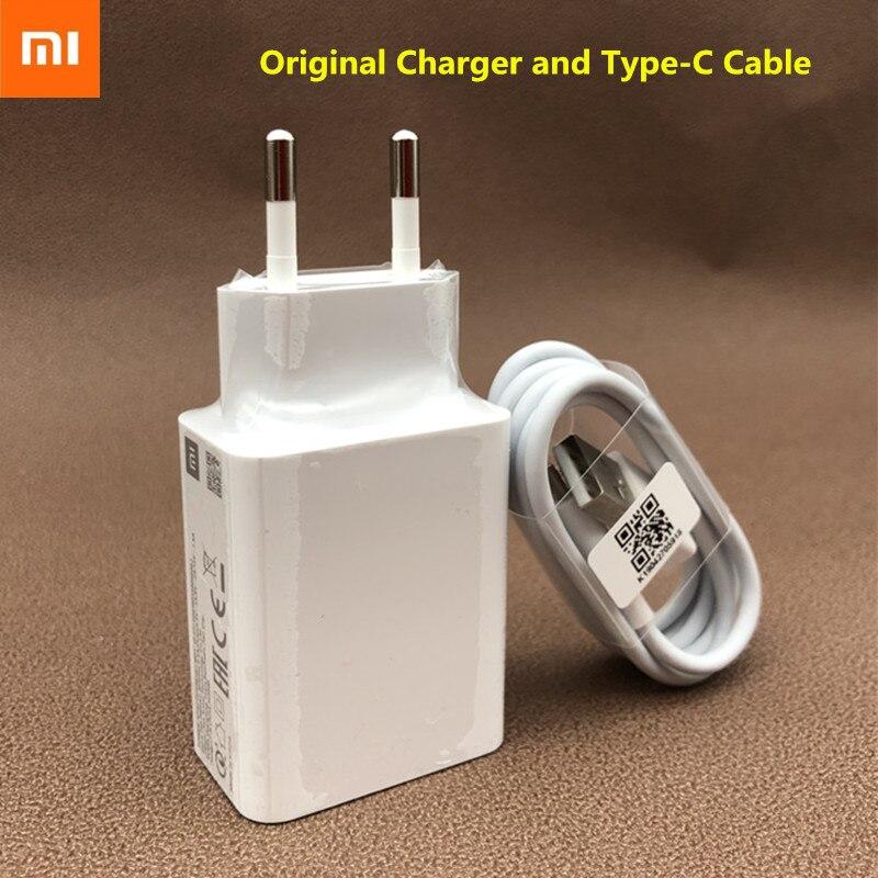 Cargador rápido USB Redmi k30 note 8 pro Xiaomi, adaptador QC3.0 Original con conector EU US, Cable tipo C para Mi 9 9se 9T CC9 CC9e 8se Mix 2s