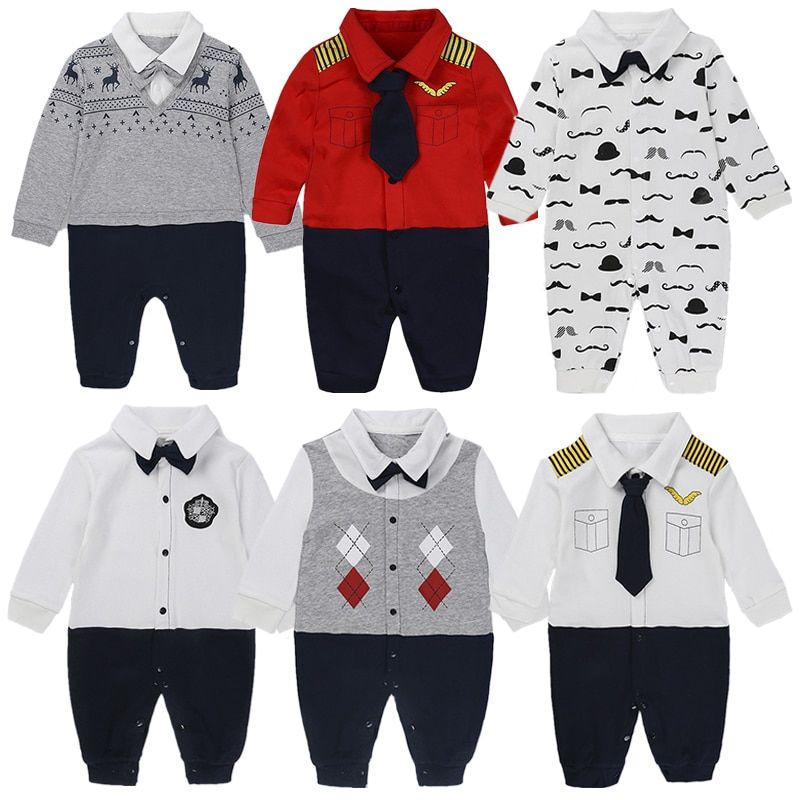 Pure Cotton Baby Boys Girls Climb Clothes Newborn  Baby Rompers  Gentleman Jumpsuit Long Sleeve Cartoon Pajamas Baby Boys Cloth newborn baby baby boys girls summer clothes pure cotton go out rompers short sleeved jumpsuit baby boys climbing clothes pajamas