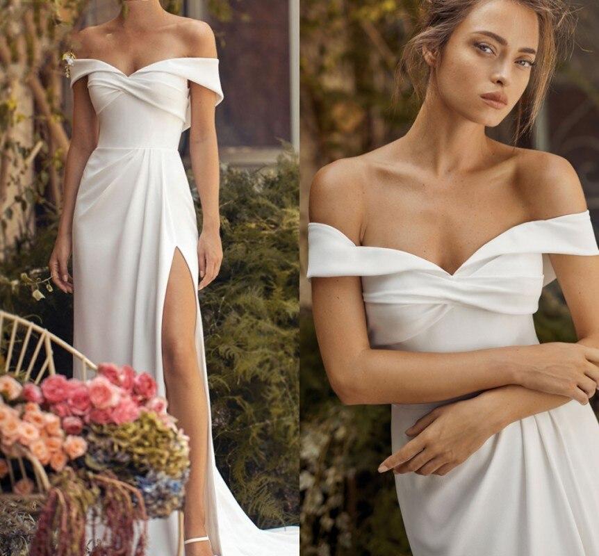 Женское атласное платье с открытыми плечами, элегантное мягкое платье невесты из крепа с оборками и разрезом, свадебные платья, 2021